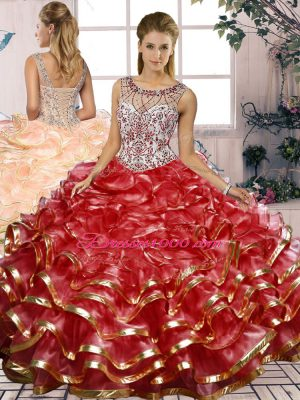 Red Quinceanera Dress Military Ball and Sweet 16 and Quinceanera with Beading and Ruffles Scoop Sleeveless Lace Up