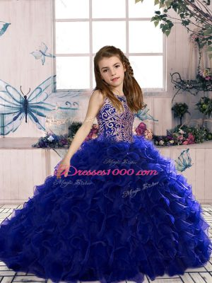 On Sale Royal Blue Ball Gowns Scoop Sleeveless Organza Floor Length Lace Up Beading and Ruffles Little Girl Pageant Dress