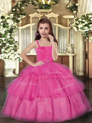 Hot Pink Lace Up Straps Ruffled Layers Casual Dresses Tulle Sleeveless