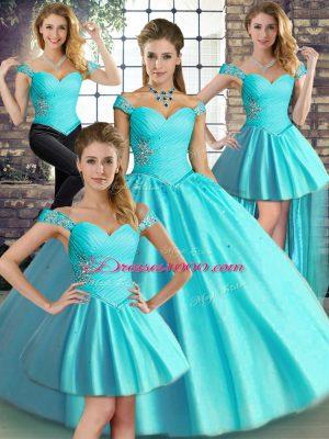 Exquisite Aqua Blue Sleeveless Beading Floor Length Vestidos de Quinceanera