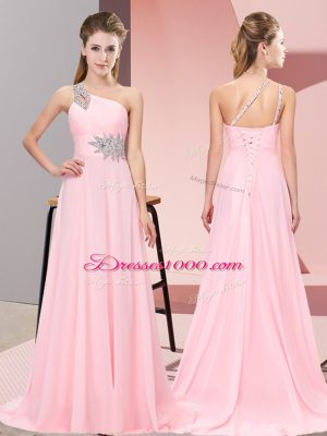 Exceptional Baby Pink Empire Scoop Sleeveless Chiffon Brush Train Side Zipper Beading Prom Evening Gown