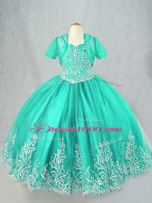 Ball Gowns Child Pageant Dress Turquoise Spaghetti Straps Tulle Sleeveless Floor Length Lace Up