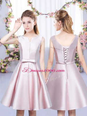 Amazing Baby Pink Satin Lace Up V-neck Sleeveless Mini Length Wedding Guest Dresses Bowknot