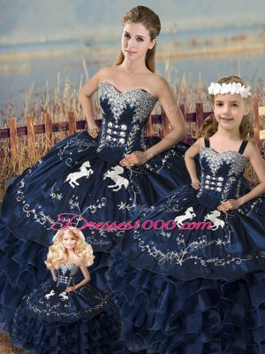 Customized Navy Blue Sleeveless Embroidery and Ruffles Floor Length 15 Quinceanera Dress