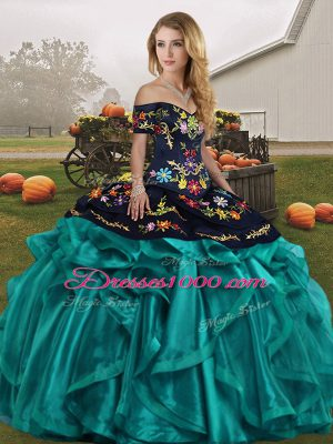Glorious Off The Shoulder Sleeveless Lace Up Quince Ball Gowns Teal Organza