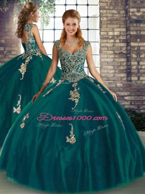 Floor Length Peacock Green Quinceanera Gowns Straps Sleeveless Lace Up