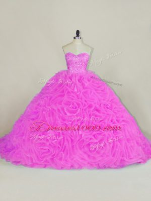 Sweetheart Sleeveless Organza Quinceanera Gown Beading and Ruffles Chapel Train Lace Up