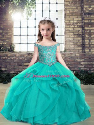 Custom Fit Teal Sleeveless Floor Length Beading Lace Up Pageant Dress for Teens