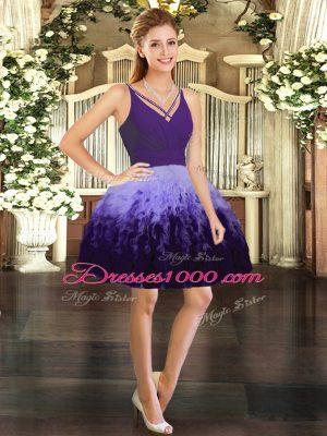 V-neck Sleeveless Tulle Prom Gown Ruffles Backless