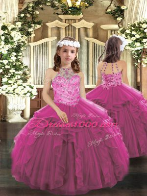 Dazzling Tulle Halter Top Sleeveless Lace Up Beading and Ruffles Kids Pageant Dress in Fuchsia