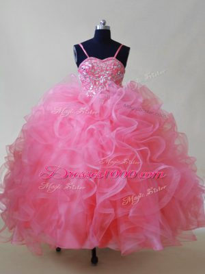 Tulle Spaghetti Straps Sleeveless Lace Up Beading and Ruffles Evening Gowns in Pink