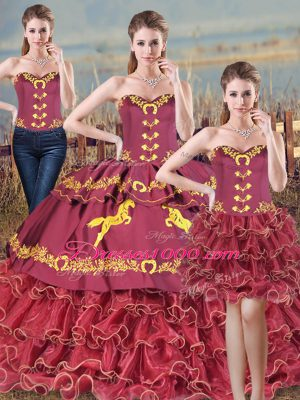 Beautiful Burgundy Sweetheart Neckline Embroidery and Ruffles Quinceanera Dress Sleeveless Lace Up