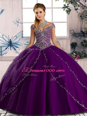 Discount Cap Sleeves Brush Train Beading Lace Up Quinceanera Dresses