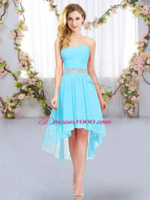 Aqua Blue Sleeveless Belt High Low Bridesmaid Gown