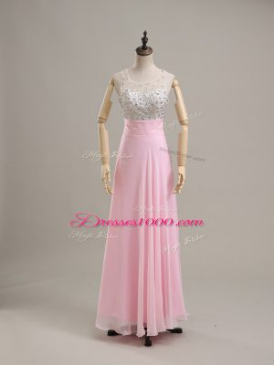 Artistic Baby Pink Column/Sheath Chiffon Scoop Sleeveless Beading Floor Length Side Zipper Prom Gown