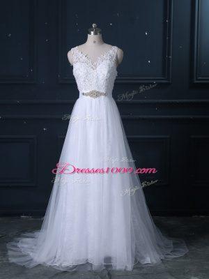 Comfortable White Empire Lace V-neck Sleeveless Beading and Lace Backless Wedding Dress Brush Train
