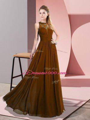 Brown Empire Scoop Sleeveless Chiffon Floor Length Zipper Lace Evening Dress