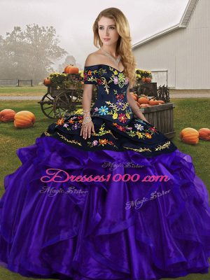 Flare Off The Shoulder Sleeveless 15th Birthday Dress Floor Length Embroidery and Ruffles Black And Purple Organza