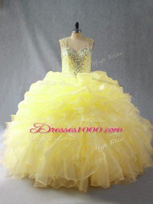 Floor Length Yellow 15 Quinceanera Dress Straps Sleeveless Zipper