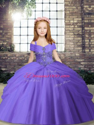 Spaghetti Straps Sleeveless Lace Up Little Girl Pageant Dress Lavender Tulle