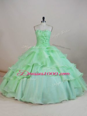 Stunning Organza Sleeveless Floor Length Sweet 16 Dress and Ruffled Layers and Ruching and Hand Made Flower