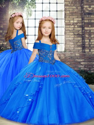 Pretty Blue Straps Neckline Beading Child Pageant Dress Sleeveless Lace Up