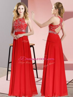 Red Sleeveless Chiffon Backless for Prom and Party