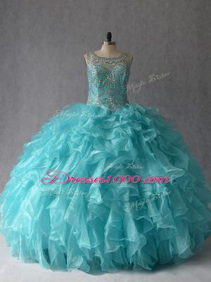 Exceptional Aqua Blue Lace Up 15 Quinceanera Dress Beading and Ruffles Sleeveless Floor Length