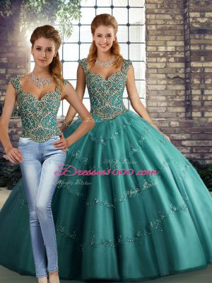 Modest Teal Sleeveless Beading and Appliques Floor Length Quinceanera Dress