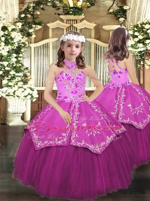 Tulle Sleeveless Floor Length Kids Formal Wear and Embroidery