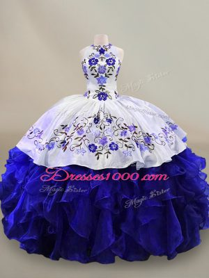 Blue And White Lace Up Halter Top Embroidery and Ruffles Ball Gown Prom Dress Organza Sleeveless