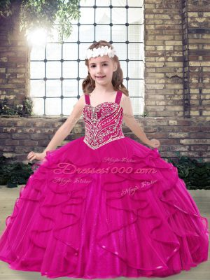 Sleeveless Lace Up Floor Length Beading Child Pageant Dress