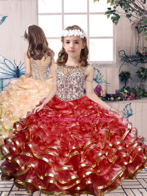 Modern Beading and Ruffles Little Girl Pageant Dress Red Lace Up Sleeveless Floor Length