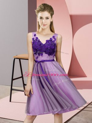 Most Popular Lavender Tulle Lace Up V-neck Sleeveless Knee Length Bridesmaid Dress Appliques