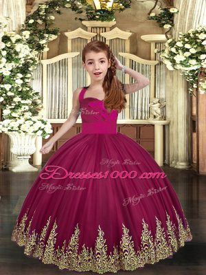 Sleeveless Floor Length Embroidery Lace Up Little Girl Pageant Gowns with Burgundy