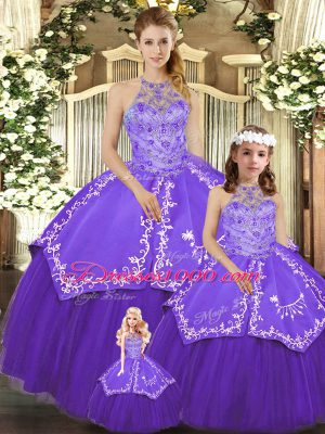 Purple Ball Gowns Halter Top Sleeveless Satin and Tulle Floor Length Lace Up Beading and Embroidery Quinceanera Dresses