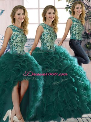 Charming Organza Scoop Sleeveless Lace Up Beading and Ruffles Sweet 16 Dress in Peacock Green