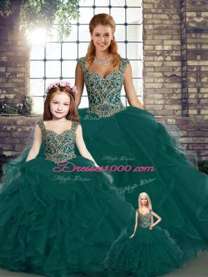 Dazzling Floor Length Peacock Green Sweet 16 Dress Straps Sleeveless Lace Up
