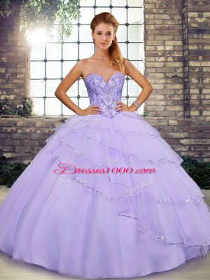 Chic Lavender Sweetheart Lace Up Beading and Ruffled Layers 15th Birthday Dress Brush Train Sleeveless