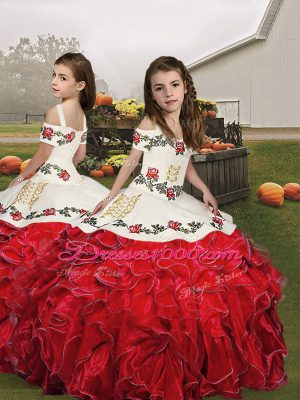 Red Lace Up Girls Pageant Dresses Embroidery and Ruffles Sleeveless Floor Length