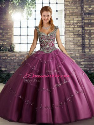 Sleeveless Beading and Appliques Lace Up Sweet 16 Dresses