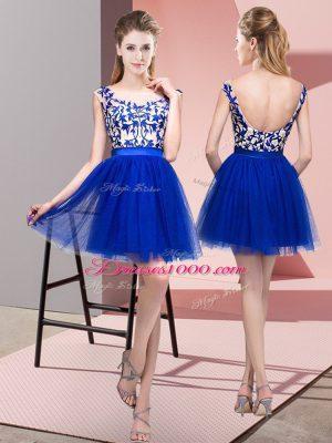 Hot Sale Royal Blue A-line Bateau Sleeveless Tulle Mini Length Zipper Lace Damas Dress