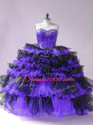 Captivating Black And Purple Lace Up Sweet 16 Dress Beading and Ruffled Layers Sleeveless Floor Length