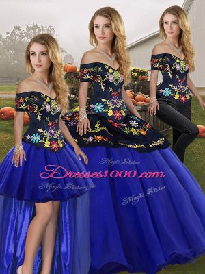 Sleeveless Floor Length Embroidery Lace Up Quinceanera Dresses with Royal Blue