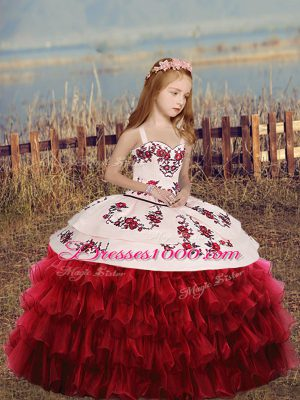 Trendy Red Lace Up Straps Embroidery and Ruffled Layers Child Pageant Dress Organza Long Sleeves