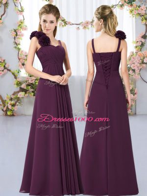 Lovely Floor Length Lace Up Dama Dress Dark Purple for Wedding Party with Hand Made Flower