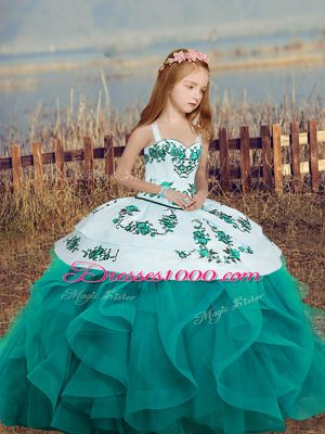 Teal Sleeveless Floor Length Embroidery and Ruffles Lace Up Kids Pageant Dress