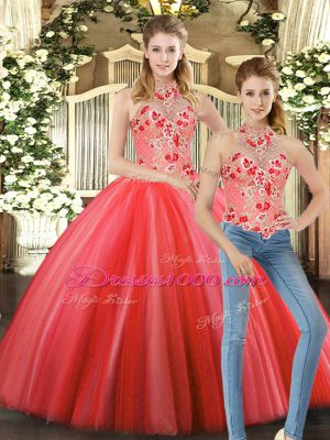 Customized Floor Length Coral Red Quince Ball Gowns Halter Top Sleeveless Lace Up