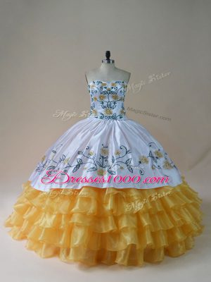 Yellow And White Sleeveless Organza Lace Up 15th Birthday Dress for Sweet 16 and Quinceanera
