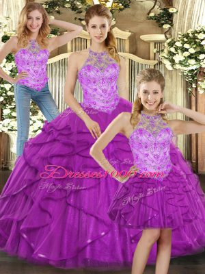Dazzling Sleeveless Beading and Ruffles Lace Up 15 Quinceanera Dress
